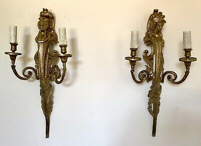 A Pair Of French Napoleon III Style Gilted Metal Two Branch Wall Lights/ Sconces