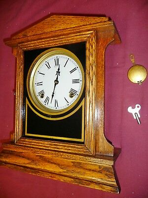 8 Day Sessions Clock Gable No. 1 Model Runs & Strikes Properly Antique Part