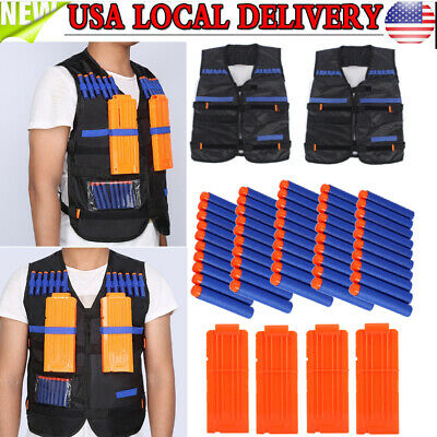 TACTICAL VEST Set for Game Gun Foam Darts Bullets Clip ALL IN ONE