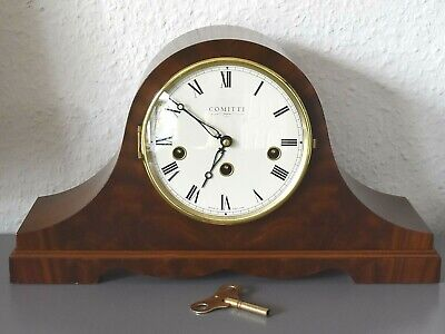 COMITTI London Napoleon hat mantle clock. Made in England. Running. Hermle mov't