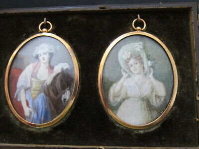 Double antique French Miniature Painting Hand Painted Portrait, 19th century
