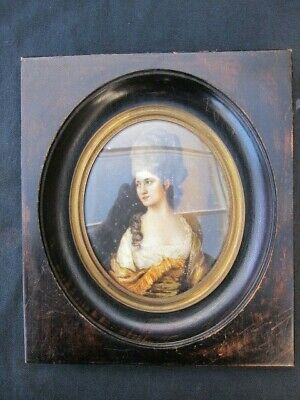 Large antique French Miniature Painting Hand Painted Portrait, 19th century