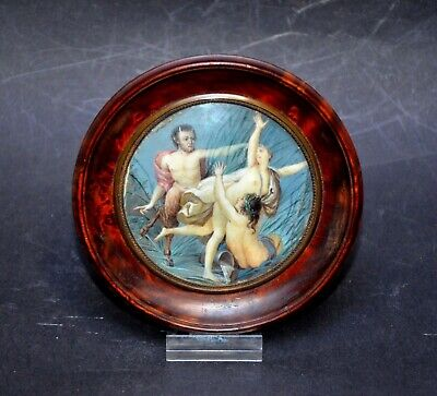Antique French Miniature Painting, Hand Painted miniature, 19th century