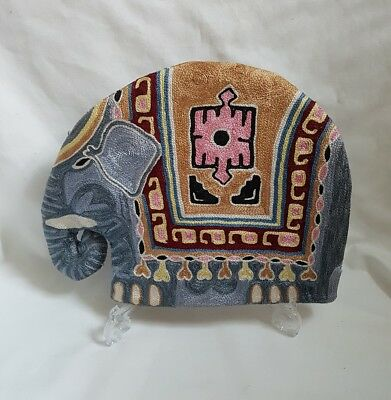 REDUCED ❀ڿڰۣ❀ VINTAGE Embroidered Crewel Work INDIAN ELEPHANT TEA POT COSY ❀RARE