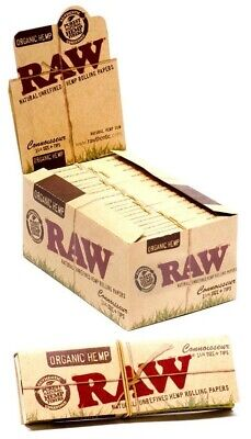 24 Packs Raw Organic King Size Classic Rolling Papers Filter With Tips Full Box