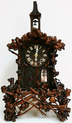 Extremely Rare Antique Black Forest Monk Automaton Angelus Bell Striking Clock