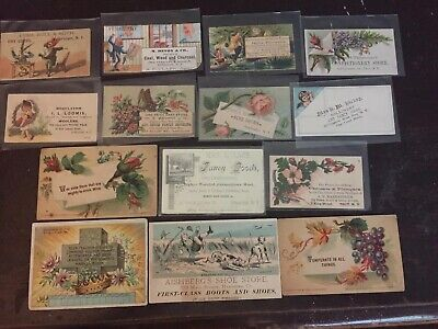 14 Victorian Advertising Trade cards Vintage Anthropomorphic