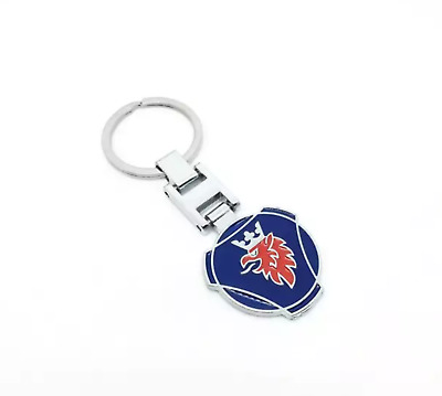 Latest Style double sided  Metal Key Ring Key chain Logo For SAAB SCANIA Keyfob.