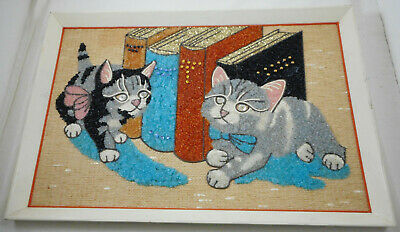 Vintage Mid Century Gravel Pebble Kittens Cat Wall Art Picture Hanging
