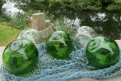 "Japanese Glass Floats 4"" Emerald Green & Clear Lot of 5 +Net Antique Set"