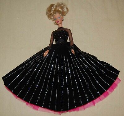 Mattel 1998 HAPPY HOLIDAYS Barbie Doll SPECIAL EDITION Black Gown BLING Preowne