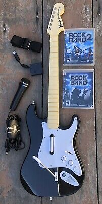 Rock band PS3 Guitar Dongle Games 1 & 2 Microphone Bundle PlayStation 3