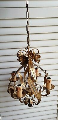Italian Guilt brass  Tole 5 Arms Chandelier c.1950