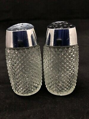 Pair of Vintage GRACE Diamond Glass Salt and Pepper Shakers. Great condition.