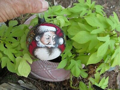 Hand Painted Glass Ornament Santa Face Reindeer Exquisite  Luis? 4""