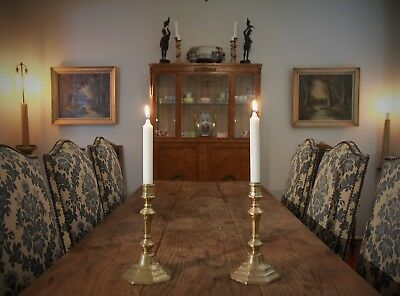 Matching Pair of Antique French Octagonal Based Brass Candlesticks
