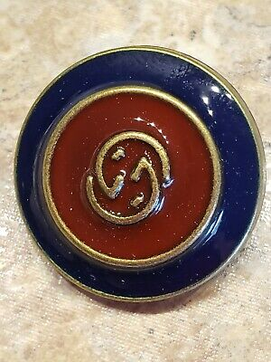 """2 GUCCI GG Logo Buttons - 25 mm 1"""" Navy Red Gold Jackets Coats RARE"""