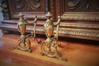 Pair of French Antique Brass Fireplace Andirons