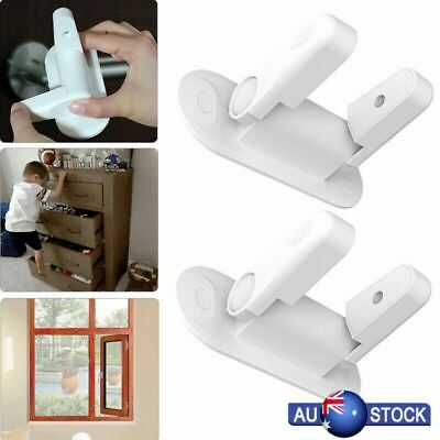 2 Pcs Door Lever Lock Child Proof Safety Door Handle Lever Lock Self-Adhesive AU