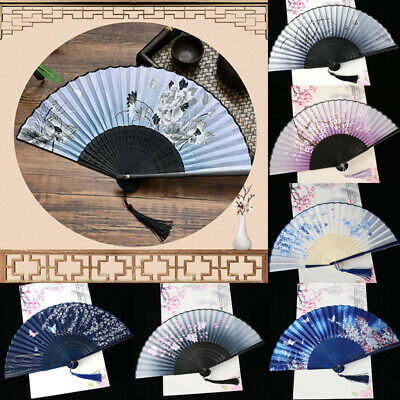 AU Vintage Chinese Hand Held Dance Fan Folding Silk Bamboo Flower Wedding Party