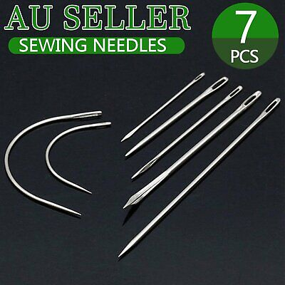 Set of 7 Hand Repair Upholstery Sewing & Curved Needles Carpet Leather Canvas AU