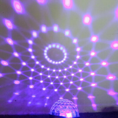 UV Disco Black Mirror Ball DJ Light 3LED Dance Party Stage Lighting + Remote