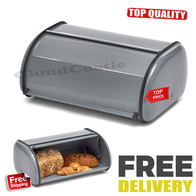 Large Steel Bread Box 2 Loaf Storage Metal Kitchen Food Container Pan Gray