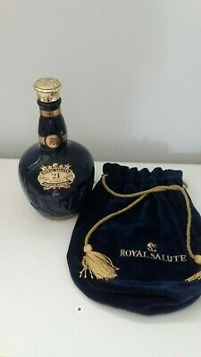 Chivas Royal Salute 21 Year Old Blended Scotch Whiskey (Empty) Bottle + pouch