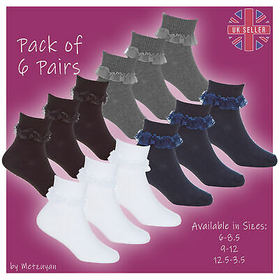 Kids Girls 6 Pairs Frilled Ankle Socks White With Frill Lace Size 6-8 9-12 12-3