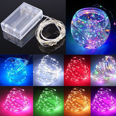 20/30/50/100LED Battery Powered Fairy Lights Copper/Sliver Micro Wire Christmas