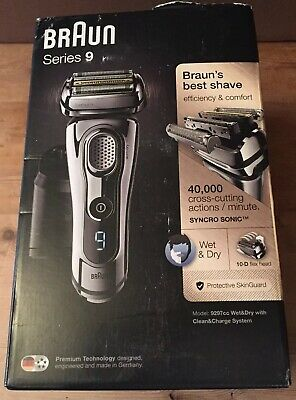 Braun Series 9 9297cc Men's Electric Shaver Wet/Dry Clean & Renew Charger Chrome