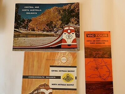 Central Australian Railways 1970s Brochures x3 Including Fold Out Map -Very Good