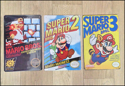 Super Mario Trilogy NES 3x Metal Wall Tin Sign Poster Mancave GAMEROOM Gift
