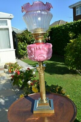 Victorian twin burner oil lamp .pink font no damage u/k only