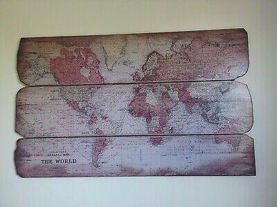 Large Wood panel Antique Map of World showing shipping routes