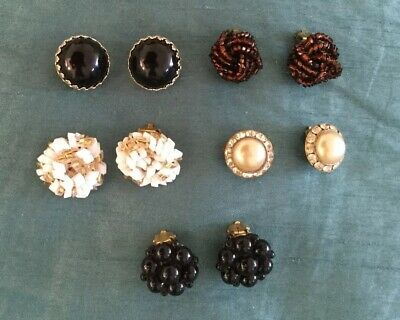 Job Lot Of 5 Pairs Of Vintage Clip on Earrings