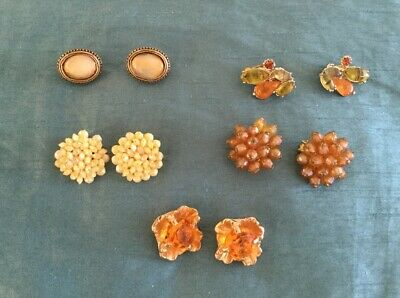 Job Lot Of 5 Pairs Of Vintage Clip on Earrings Yellow/ Gold Colour