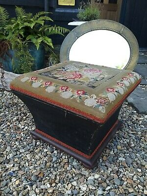 A Very Original Victorian Upholstered Box Stool Foot Stool Pouffe Table ottoman