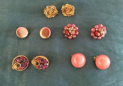 Job Lot Of 5 Pairs Of Vintage Clip on Earrings Colour Pink