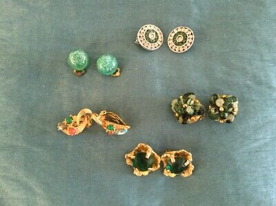 Job Lot Of 5 Pairs Of Vintage Clip on Earrings Colour Green