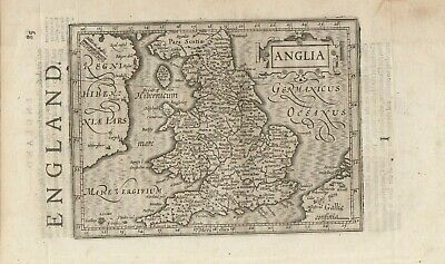 1608 antique map of England & Wales by Gerard Mercator - Jodocus Hondius