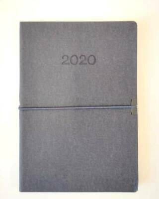 2020 Diary A5 Week To Page Soft PU Cover w Elastic Week To An Opening Diary-Grey