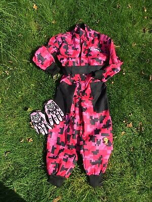 Girls Kids Motocross Race Suit  And Gloves,size Approx 5 Years,pink .