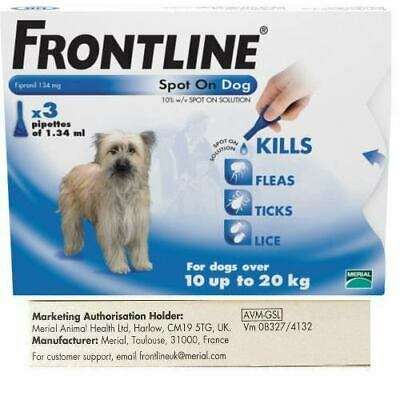 FRONTLINE DOG Flea Tick Lice Treatment Frontline Spot On Medium Dog 10-20kg 3pip