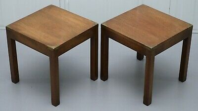 Pair Of Small Harrods London Mahogany Military Campaign Lamp Side End Tables