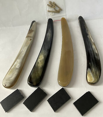 4 Pre-Shaped Colorful Natural Horn Dovo Straight Razor Scales 5/8-1 Razor Blades
