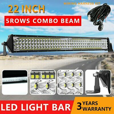 22inch 5 Rows CREE LED Light Bar Flood Spot Offroad Work Driving Lamp 24'' +Wire