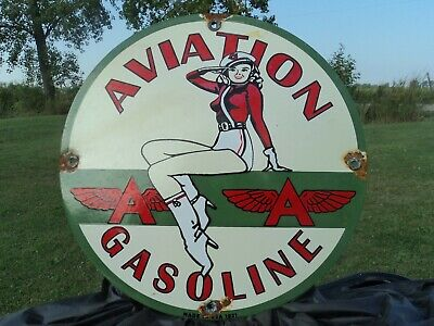 Vintage 1931 Flying A Aviation Gasoline Porcelain Enamel Gas Pump Sign