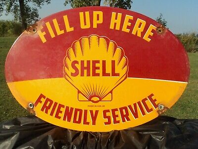 "Old 1948 Shell Gasoline ""Friendly Service""  Porcelain Enamel Gas Pump Sign"