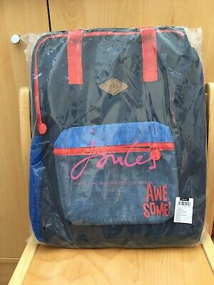 Joules Boys Backpack **BNWT** - Blue With Red Trim 'Awesome' Slogan